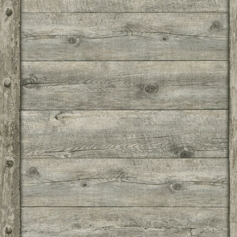 Rustic Wood Panel Effect Wallpaper Rasch Textured Paste The Wall Vinyl
