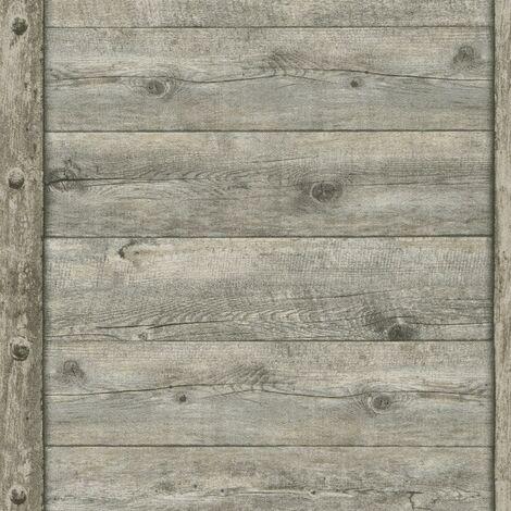 Rustic Wood Panel Effect Wallpaper Rasch Textured Paste The Wall Vinyl