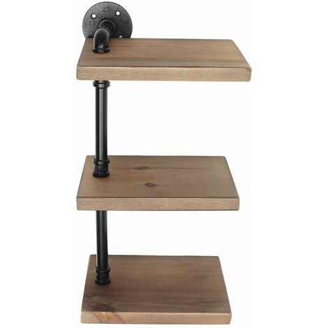 """main image of """"Rustic wood shelf to 3 tier wood wall shelf for LAVENTE pipe"""""""