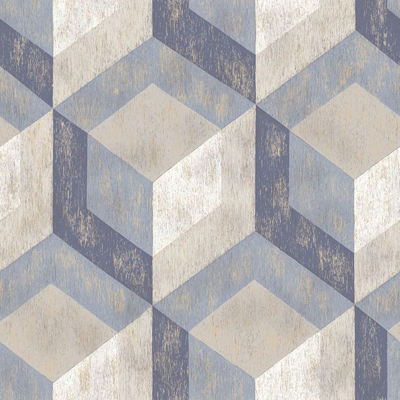 Image of Rustic Wooden Tile Geometric Wallpaper Paste The Wall A Street Prints Blue Grey