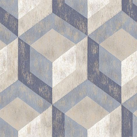 Rustic Wooden Tile Geometric Wallpaper Paste The Wall A Street Prints Blue Grey