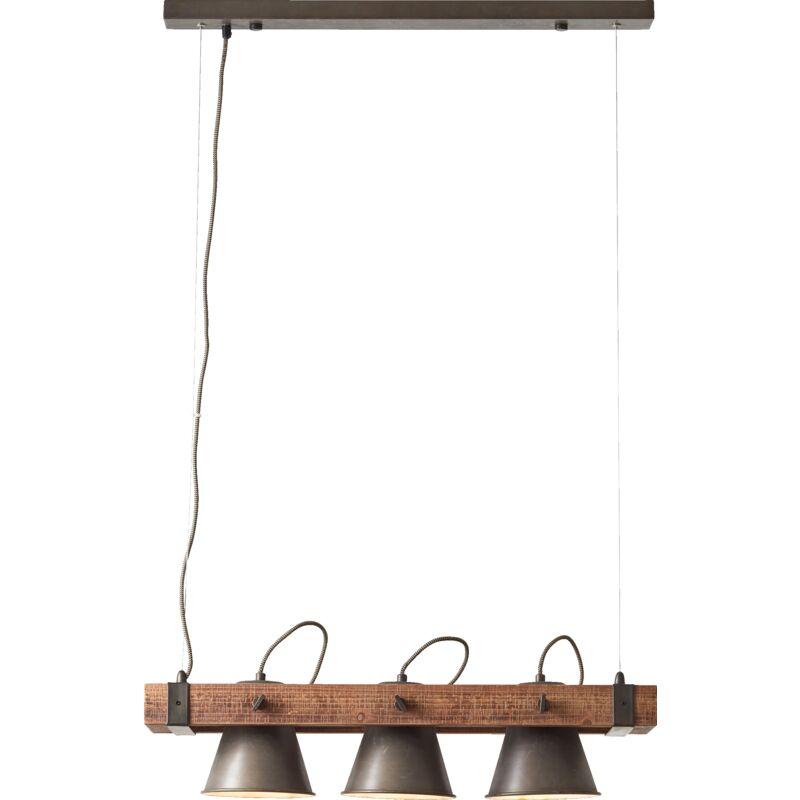 Lightbox - Rustikale Pendelleuchte, 3x E27 max. 10 Watt, aus Metall / Holz in schwarz stahl / braun-'LB00001423'