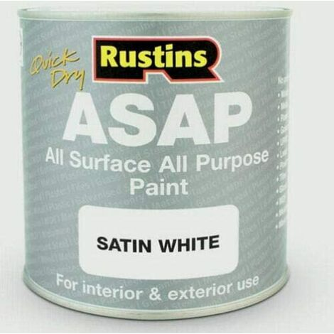 """main image of """"Rustins ASAP All Purpose All Surface Satin Paint White 250ml"""""""