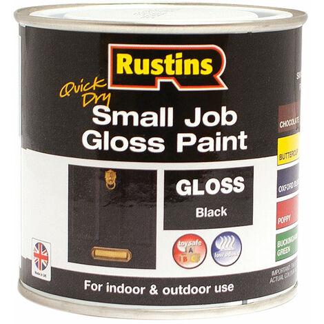 Rustins GPBLW250 Quick Dry Small Job Gloss Paint Black 250ml