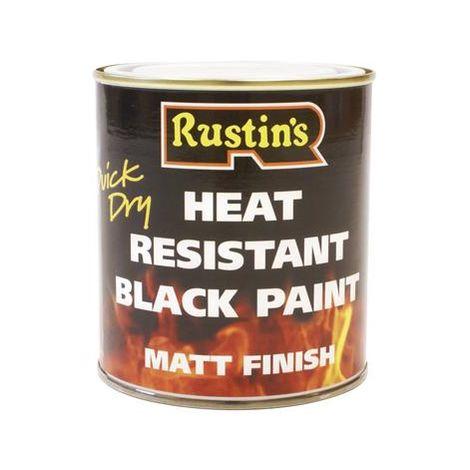 Rustins Heat Resistant Black Paint 250ml - Fast Drying Decorative Paint