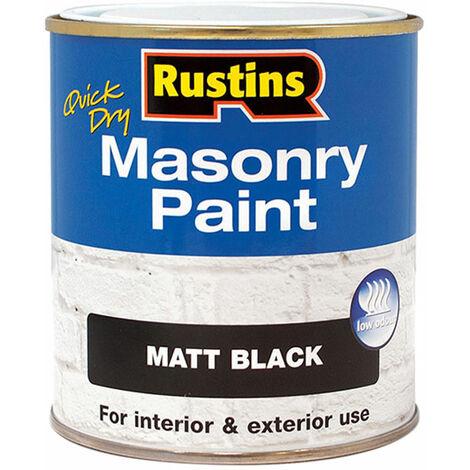 Rustins MASPB500 Quick Dry Masonry Paint Matt Black 500ml