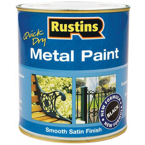 Rustins MPBK250 Quick Dry Metal Paint Smooth Satin Finish Black 250ml