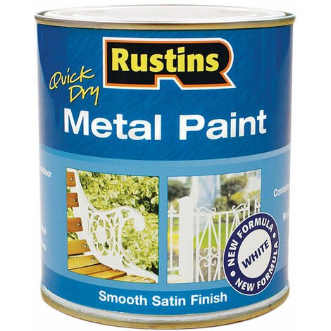 Rustins MPWH250 Quick Dry Metal Paint Smooth Satin Finish White 250ml