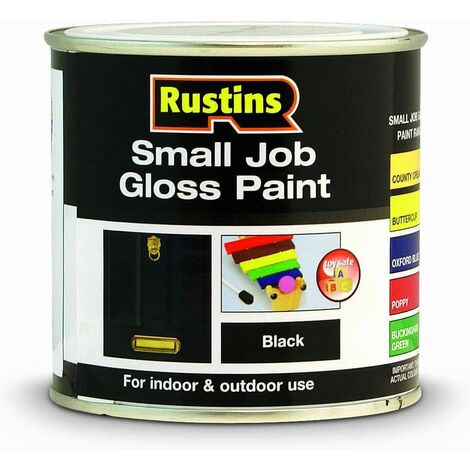 Rustins Small Job Gloss Paint Black 250ml