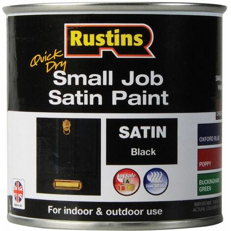 Rustins SPBLW250 Quick Dry Small Job Satin Paint Black 250ml