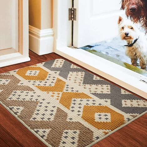 Rutschfeste Fußmatte mit geometrischer Form, verschleißfeste, rutschfeste Fußmatte für Zuhause, Innen, Außen, Eingang, Treppe, Flur, Gartenteppich, Gelb 60 * 90 cm