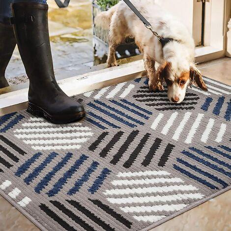 Rutschfeste Fußmatte mit geometrischer Form, verschleißfeste rutschfeste Home-Fußmatte für Innen, Außen, Eingang, Treppe, Flur, Gartenteppich, Grau 80 * 100 cm