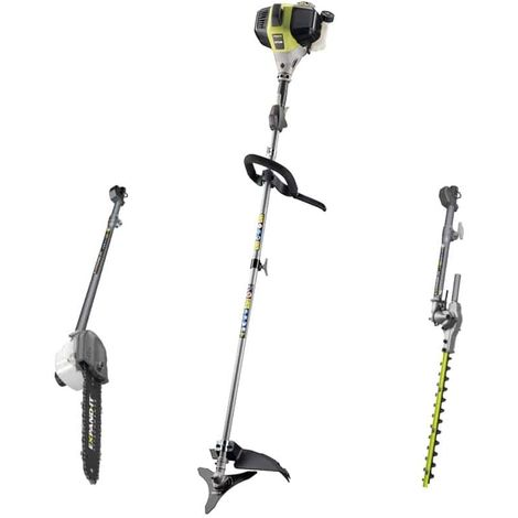 RYOBI 1000W Thermal Brush Cutter Pack - Chain Trimmer Attachment - Swivel Hedge Trimmer Attachment - RBC31SESOAHTAPR