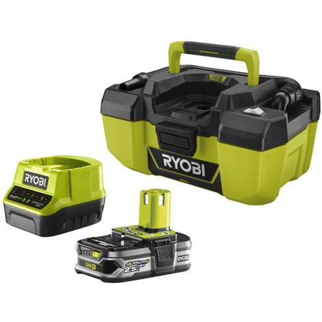 RYOBI 18V One Plus R18PV-0 workshop vacuum pack - 1 battery 2.5Ah LithiumPlus - fast charger 2.0Ah RC18120-125