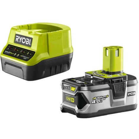 RYOBI 18V OnePlus Battery Pack 4.0Ah LithiumPlus and 2.0Ah Lithium-ion Rapid Charger RC18120-140