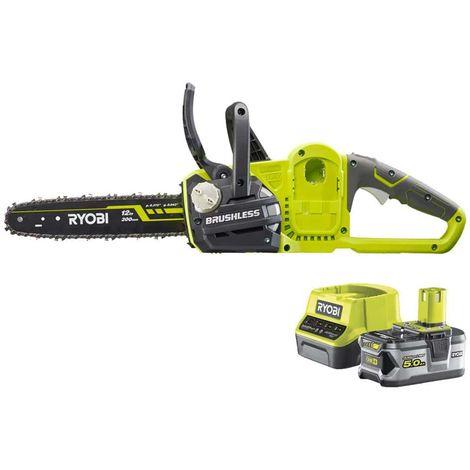 RYOBI 18V OnePlus OCS1830 chainsaw pack - 1 batería 5.0Ah - 1 cargador 2.0Ah RC18120-150