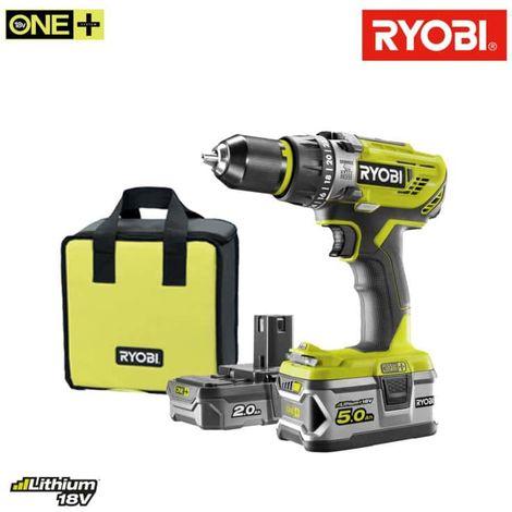 RYOBI 18V OnePlus percusion drill/driver - 2 baterías LithiumPlus 2.0Ah y 5.0Ah - 1 cargador rápido R18PD31-252S