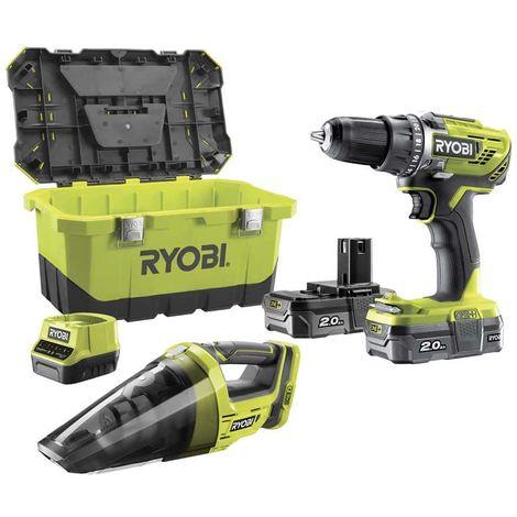 RYOBI 18V OnePlus R18DD3-200 drill and driver pack - RYOBI CHV182M workshop vacuum cleaner - 2 x 2.0Ah LithiumPlus 2.0Ah