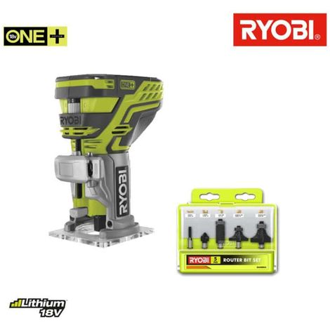RYOBI 18V OnePlus wood flush pack without battery and charger R18TR-0 - 5 strawberry mixers set RAKRBS5