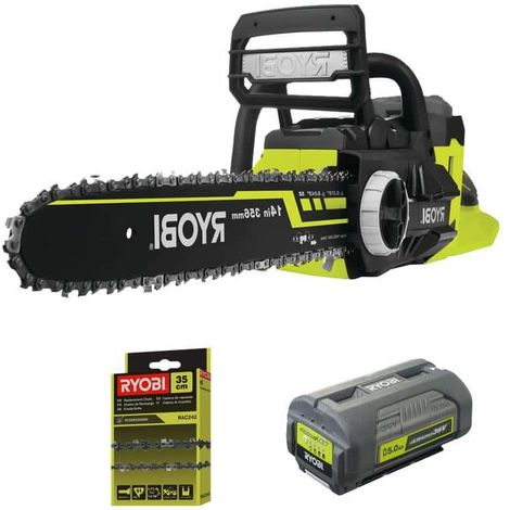RYOBI 36V LithiumPlus chainsaw pack - 1 battery 5.0Ah - 1 motor charger without brushes RCS36X3550HI - 35cm chain for RA