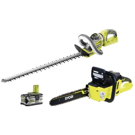 RYOBI 36V LithiumPlus chainsaw pack - 1 battery 5.0Ah - 1 motor charger without brushes RCS36X3550HI - Hedge cutter 36V