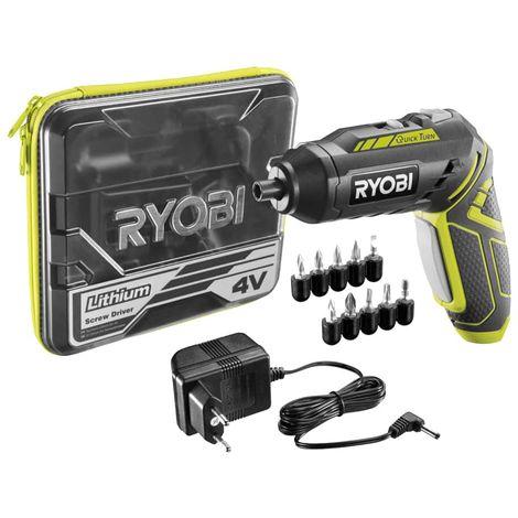 RYOBI 4V 1.3Ah Cordless Screwdriver - 2 Speed 5 Accessories R4SDP-L13T