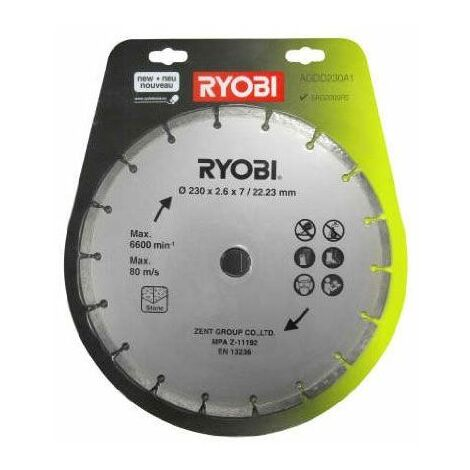 Ryobi Blister disque diamant 230 mm pour meuleuse d'angle AGDD230A1 - 5132002581