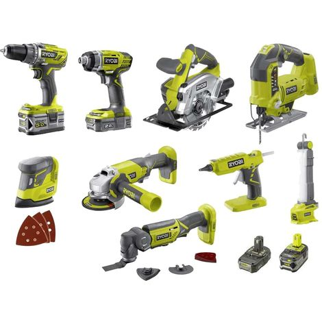 RYOBI Combo Pack 9 tools - 2 batteries 5.0Ah and 2.0Ah - 1 charger - R18CK9-252S