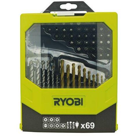 Ryobi - Conjunto de 69 puntas de taladro y de destornillador - RAK69MIX