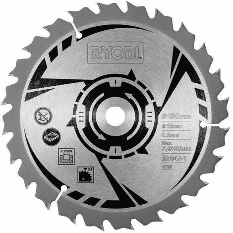 Ryobi CSB190A1 Lame Scie Circulaire CARBURE Pour : EWS1266 HG , EWS1366 HG , RWS1250 G , 1400K , 1600K , 18 dents 190 mm