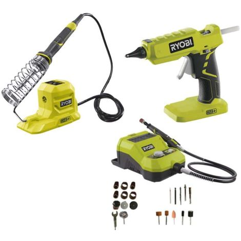 RYOBI decoration pack glue gun 18V OnePlus without battery or charger R18GLU-0 - soldering iron R18SOI-0 - mini-tool mul