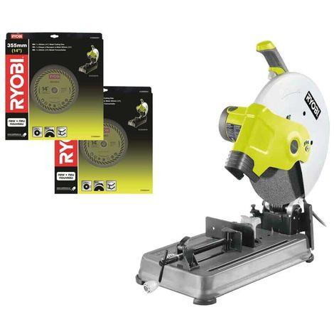 RYOBI electric metal cutting machine pack 2300W 355mm ECO2335HG - 2 discos de corte universales COSB355A1