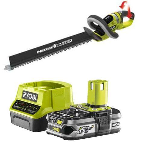 RYOBI Heckenschneider-Pack 18V OnePlus OHT1855R - 1 Akku 2,5Ah - 1 Schnell-Ladegerät RC18120-125