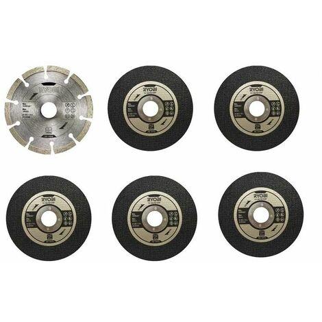 Ryobi Kit découpe 6 disques meuleuse Ø 125 mm - RAK6AGD125