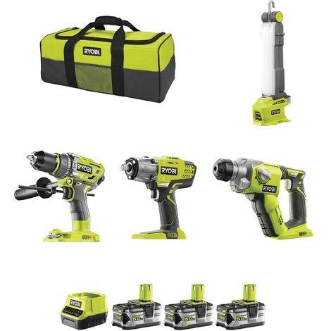 RYOBI Kit RK18435F (R18PD7 + R18iW3 + R18SDS + R18ALF + 3 x 5,0 Ah + RC18120 + Bolsa)