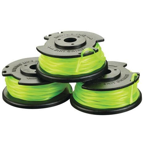 Ryobi - Lot 3 bobines simple fil torsadé Ø 2 mm pour coupe-bordures sur batterie - RAC143 - TNT