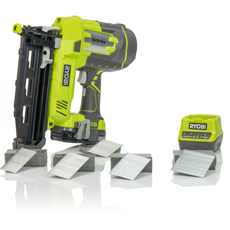 Ryobi ONE+ R18N16G-113 Cordless 16 Gauge Airstrike Nailer with 1.3Ah Battery, Super Charger & 4000 Nail Project Set