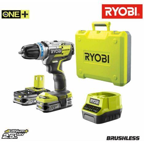 RYOBI OnePlus Lithium-ion Brushless Drill-Driver - 2 x 2 5 Ah - Quick  Charger - Box - R18DDBL-225B