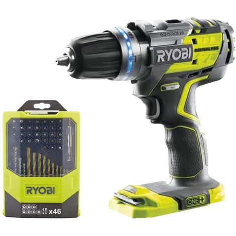 RYOBI Pack Brushless 18V OnePlus Brushless Drill and Screwdriver Pack R18PDBL-0 - box 46 accesorios de perforación y at