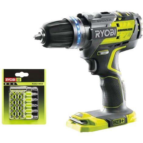 RYOBI Pack Brushless 18V Oneplus Brushless Drill-Driver 18V Oneplus R18PDBL-0 - 21 accesorios de atornillado con bastido