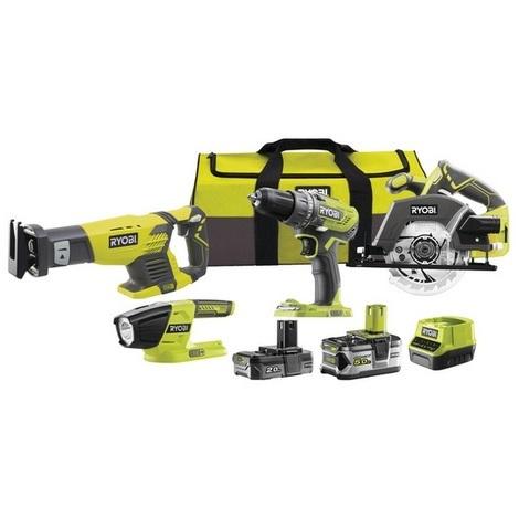 Ryobi - Pack de 4 outils 18V avec 2 batteries 5Ah et 2Ah - R18CK4-252S