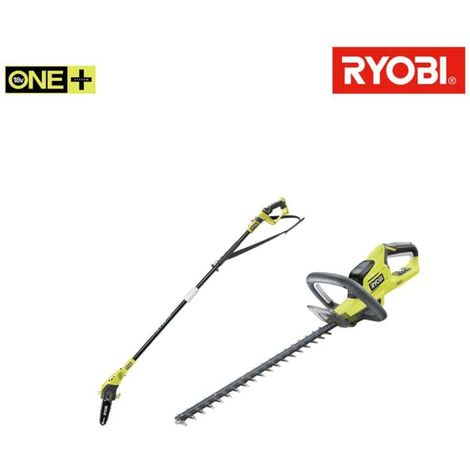 RYOBI pack hedge trimmer 18V OnePlus lithium OHT1845 - chain trimmer on pole 18V OnePlus OPP1820 - without battery and c