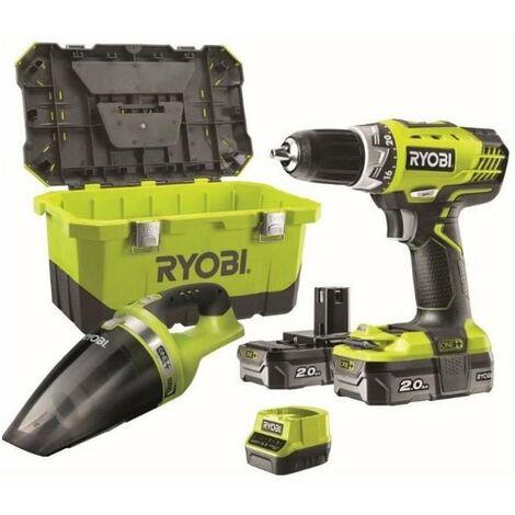 RYOBI Perceuse 18 V - 2 batteries lithium 2Ah - + Aspirateur 18 V + boîte a outils