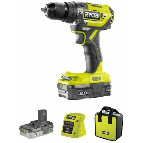 Ryobi Perceuse-visseuse à percussion 2 vitesses, 2x18V batterie, chargeur, R18PD51-220S - 5133003887
