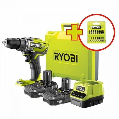 RYOBI Perceuse-visseuse sans fil 18V ONE+ R18DD3-220TA17 - 2 batteries de 2Ah - une boite a outils - un coffret 17 accessoires