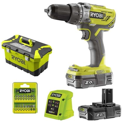 RYOBI percussion drill-driver 2 speed 18V OnePlus - 2 LithiumPlus batteries 2.0Ah - fast charger 1.5Ah R18PD3-220T