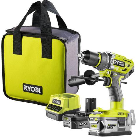 RYOBI - R18PD7-252S - Martillo percutor sin escobillas, 18 V Li + 1 x batería 2 Ah + 1 x batería 5 Ah