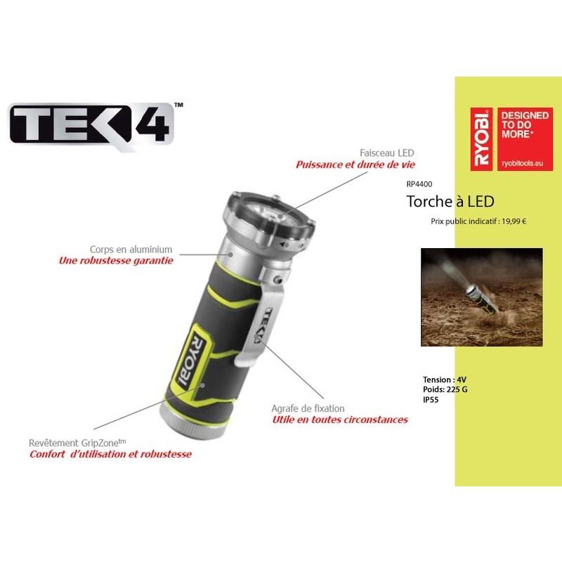 Poche 4v Torche Rp4400 Ryobi Haute Lampe Tek4 De Led Intensité qMSpUzV