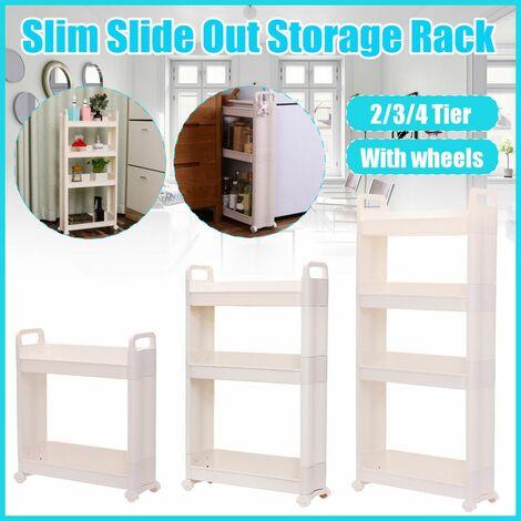 s 45cm Slim Slide Out Kitchen Bathroom Slim Trolley Trolley Storage Rack Holder Shelf Organization (4 Tiers)
