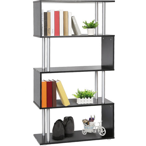 S-Shape Bookcase Bookshelf Dividers Storage Display Unit